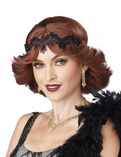 Charleston-Damenperücke mit Spitzenstirnband rot-schwarz