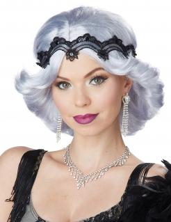 20er Jahre Damenperücke mit Spitzenstirnband grau-schwarz