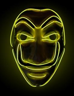 LED-Bankräuber-Maske für Erwachsene Halloween-Maske gelb