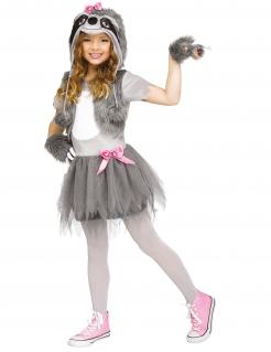 Faultier-Kostüm für Mädchen Faschingskostüm grau-weiss