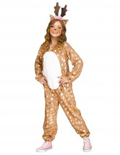 Reh-Kostüm für Mädchen Faschingskostüm braun-weiss-gold