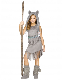 Wolfstänzerin-Kostüm für Mädchen Halloweenkostüm grau