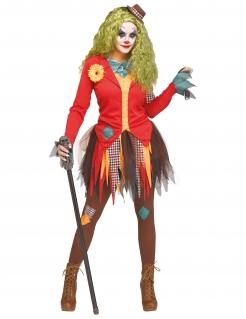 Schauriges Horrorclown-Damenkostüm Halloween-Kostüm bunt