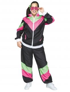 80er Jahre-Jogginganzug für Damen Faschingskostüm schwarz-pink-grün