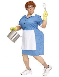 Witziges Köchin-Kostüm für Herren Faschingskostüm blau-weiss