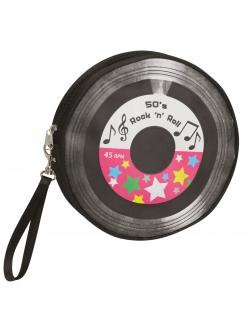 50er-Jahre Handtasche Rock`n Roll Vinyl-Style schwarz-bunt