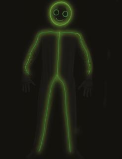 LED-Strichmännchen Kostüm für Erwachsene Halloweenkostüm schwarz-grün