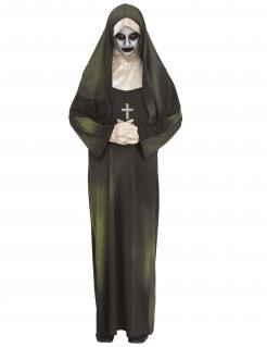 Besessene Nonne Damenkostüm Halloween schwarz-grün-weiss