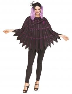 Spinnennetz-Poncho für Damen Halloween-Kostüm schwarz-violett