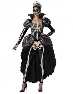 Königin der Skelette Damenkostüm Halloween schwarz-weiss