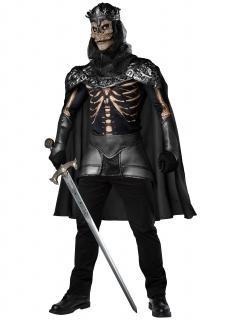 Skelett-König-Kostüm für Herren Halloween-Kostüm schwarz