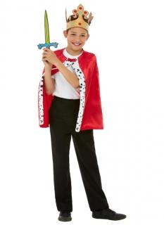 König-Zubehör-Set für Jungen Faschings-Accessoire-Set 3-teilig rot-bunt