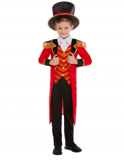 Zirkusdirektor-Kostüm für Kinder Faschingskostüm rot-schwarz-gold