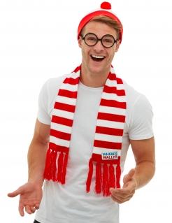 Offizielles Wo ist Walter?™ Kostüm-Zubehörset für Erwachsene 3-teilig rot-weiss-schwarz