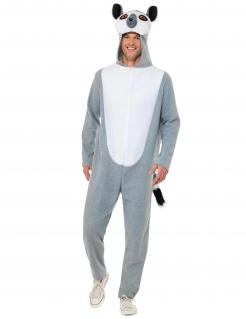 Lemur-Kostüm für Erwachsene weiss-grau
