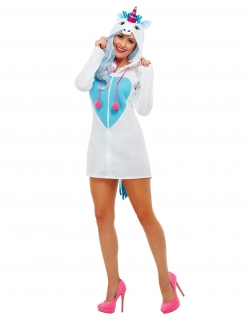 Einhorn-Kostüm Kapuzenkleid für Damen weiss-blau-pink