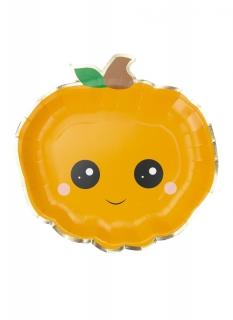 Kürbis-Teller Halloween-Partydeko 8 Stück orange-schwarz 23 cm