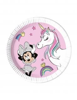 Minnie Maus™-Teller mit Einhorn Kindergeburtstag-Partydeko 8 Stück rosa-bunt 23 cm