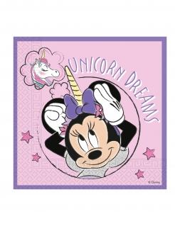 Minnie Maus™-Servietten mit Einhorn Kindergeburtstag-Partydeko 20 Stück rosa 33x33 cm