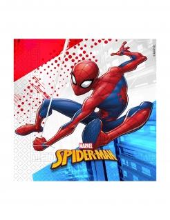 Spiderman™-Servietten Partydeko Kindergeburtstag 20 Stück rot-blau-weiss 33x33 cm