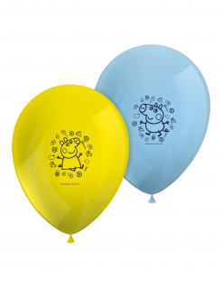 Peppa Wutz™-Luftballons Kindergeburtstag Partydeko 8 Stück gelb-blau 26 cm