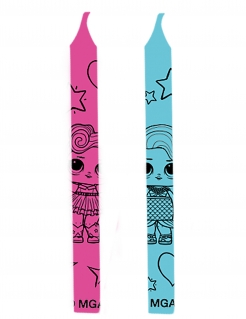 LOL Surprise™-Kerzen Kindergeburtstag 12 Stück rosa-blau 6 cm