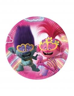 Trolls 2™-Pappteller Kindergeburtstag-Partydeko pink-violett 23 cm