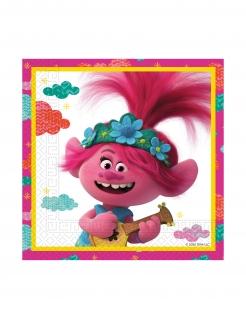 Trolls 2™-Servietten Kindergeburtstag Partydeko weiss-rosa 33x33 cm