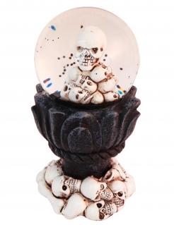 Totenkopf-Schneekugel Partydeko Halloween 14x7 cm schwarz-weiss