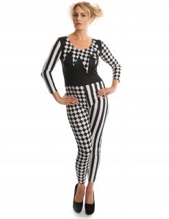 Harlekin-Kostüm für Damen Narrenkostüm schwarz-weiss