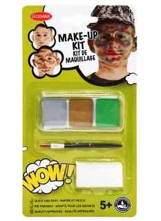 Militär-Schminkset für Kinder Faschingsschminke grau-braun-grün
