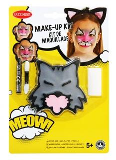 Kätzchen-Schminkset für Kinder mit Schwamm und Stift Faschings-Make-up grau-rosa