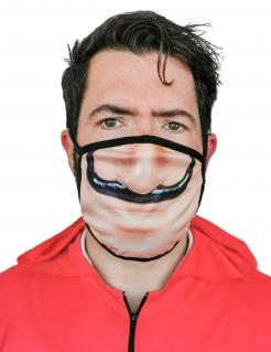 Bankräuber-Gesichtsmaske Mund-Nasen-Maske Accessoire beige-schwarz