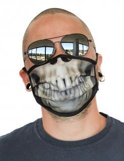 Skelett-Gesichtsmaske Mund-Nasen-Maske Accessoire beige-schwarz