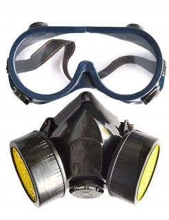 Set Gasmaske und Brille Halloween-Accessoire schwarz