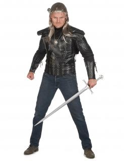 Hexer-Kostüm für Herren Geralt Halloweenkostüm schwarz-silber