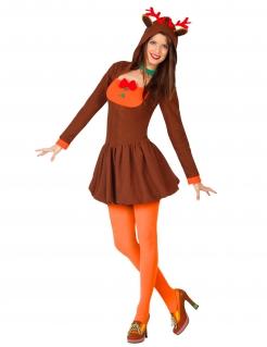 Niedliches Rentier-Kostüm für Damen Weihnachten braun-orange-grün