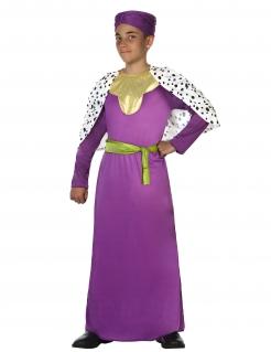 Eleganter Hofmagier Kinderkostüm violett-goldfarben-weiß