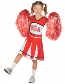 Cheerleader-Kostüm USA für Mädchen rot-weiss-schwarz