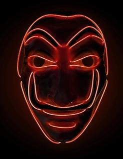 LED-Diebesmaske TV-Serie Halloween-Maske für Erwachsene rot