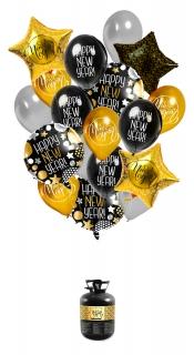 Silvester Ballon-Set 18-teilig gold-schwarz-weiß