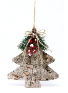 Tannenbaum-Kiefernrinde Weihnachts-Hängedeko braun-rot-grün 23 cm