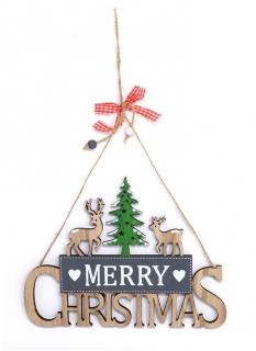 Weihnachts-Hängedeko aus Holz Merry Christmas bunt 17 x 23 cm