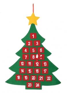 Tannenbaum-Adventskalender aus Stoff bunt 55 x 70 cm