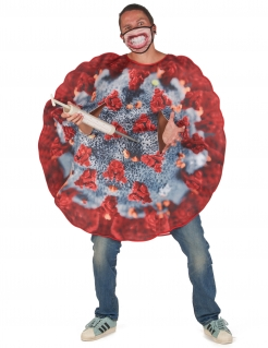 Viruskostüm für Erwachsene Covid-Outfit rot-grau