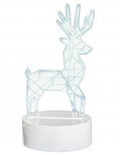 Leuchtende Hirsch-Dekoration holografisch weiss 18,5x10 cm