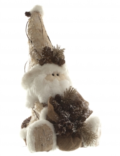 Sitzende Weihnachtsmann-Figur aus Holz Weihnachtsdeko braun-beige 34 cm
