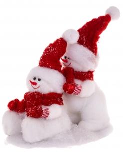 Schneemänner-Dekofigur Weihnachtsdeko weiss-rot 34 cm