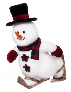 Schneemann-Dekofigur auf Schuhen Weihnachtsdeko weiss-schwarz-rot 28 cm