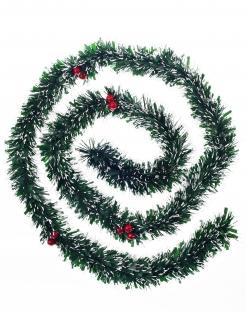 Weihnachtsbaum-Girlande Weihnachtsdeko mit Beeren grün-rot 2 m